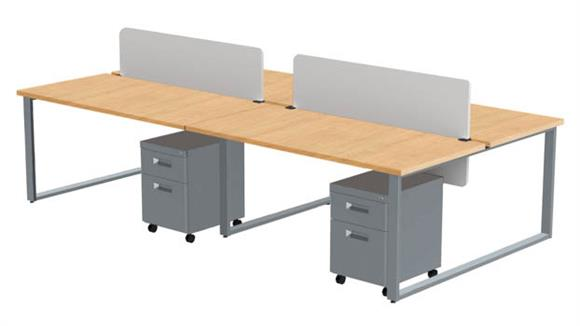 "Computer Desks Marvel Office Furniture 4 Pack of 60"" X 30"" Desks with 4 Mobile Pedestals and 2 Acrylic Privacy Screens"