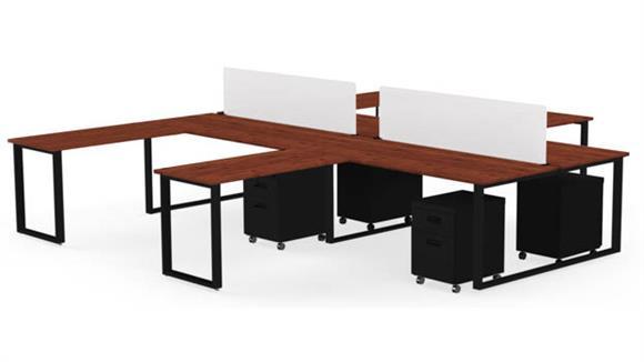 "Computer Desks Marvel Office Furniture 4 Pack of 72"" X 30"" Desk with Return, 2 Privacy Screens and 4 Mobile Pedestals"