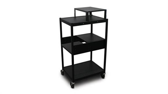 AV Carts Marvel Office Furniture Cart with 2 Pull-Out Side-Shelves, Expansion Shelf, and Electrical