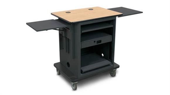 "AV Carts Marvel Office Furniture Marvel Vizion  Instructor Series AV Cart - Dark Neutral,  14""W x 14.5""D Adjustable Height Side Shelf, 16""W x 17.5""D Slow Close Shelf"