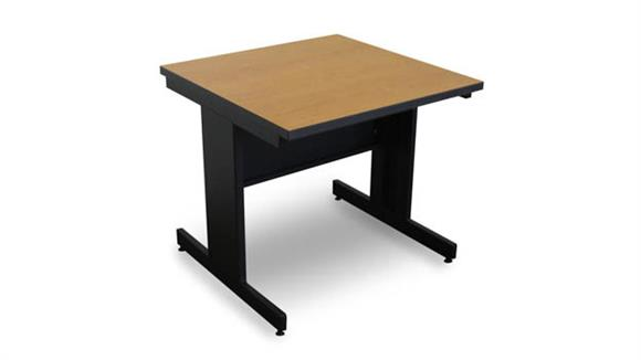 Computer Tables Marvel Office Furniture Marvel Vizion Rectangular Laminate Top Side Table with Modesty Panel - (Oak Laminate)