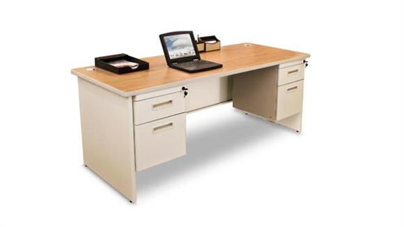 "Steel & Metal Desks Marvel Office Furniture 66"" x 30"" Double Pedestal Steel Desk"