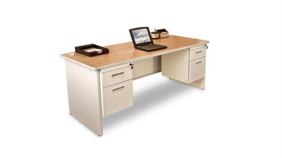 "Steel & Metal Desks Marvel Office Furniture 72"" x 30"" Double Pedestal Steel Desk"