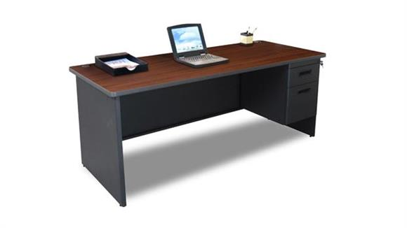 "Steel & Metal Desks Marvel Office Furniture 72"" x 30"" Single Pedestal Steel Desk"
