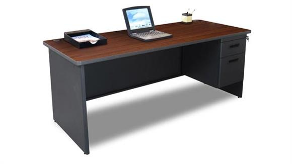 "Steel & Metal Desks Marvel Office Furniture 72"" x 36"" Single Pedestal Steel Desk"