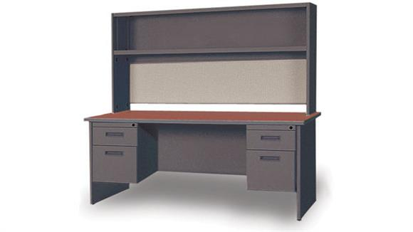 "Steel & Metal Desks Marvel Office Furniture 60"" Double Pedestal Steel Desk with Hutch"