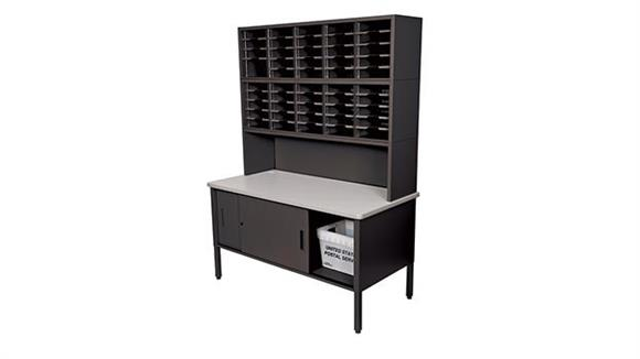 Mail Sorters Marvel Office Furniture 50 Adjustable Slot Literature Organizer with Riser and Cabinet