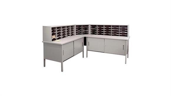Mail Sorters Marvel Office Furniture 60 Adjustable Slot Corner Literature Organizer with Cabinet