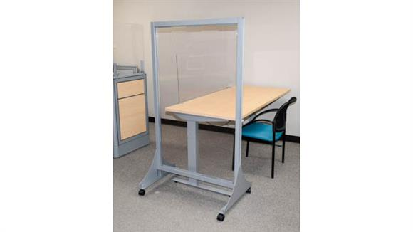 """Covid19 Office Sneeze Guards Marvel Office Furniture 66"""" - 72""""H X 24""""W Mobile Distancing Partition with Antimicrobial Frame"""