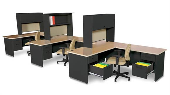 3 Person Workstation With Hutches By Marvel