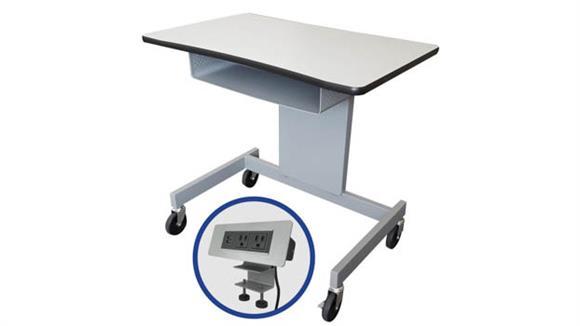 "Adjustable Height Desks & Tables Marvel 32""W Ergonomic Adjustable Height Mobile Workstation with Storage Tray"