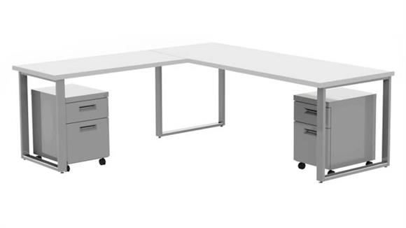 "Computer Desks Marvel 72"" X 30"" Desk with 48"" X 24"" Return and 2 Mobile Pedestals"