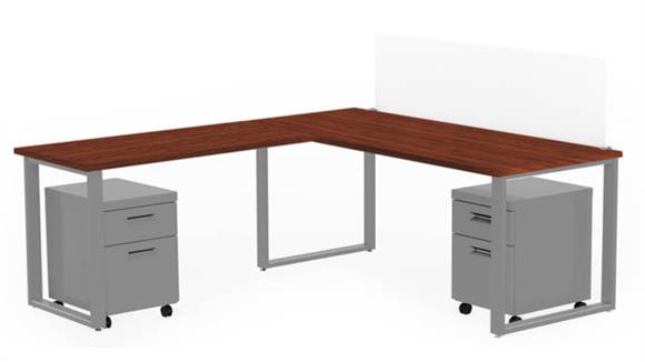 "Computer Desks Marvel 72"" X 30"" Desk with 48"" X 24"" Return, Privacy Screen, and 2 Mobile Pedestals"