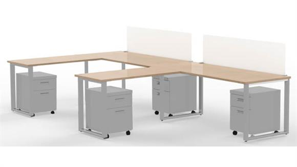 "Computer Desks Marvel 2 - 72"" X 30"" Desks with 2 - 48"" X 24"" Returns, 2 - Privacy Screens, and 4 -Mobile Pedestals"