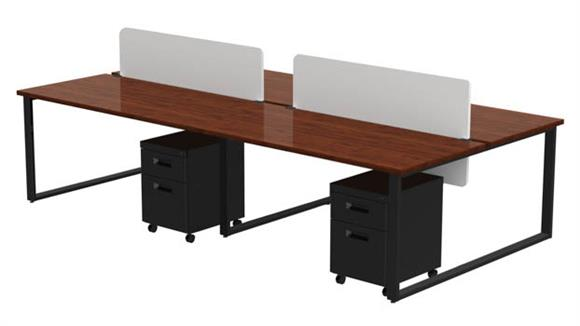 "Computer Desks Marvel 4 Pack of 60"" X 30"" Desks with 4 Mobile Pedestals and 2 Acrylic Privacy Screens"