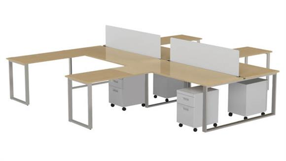 "Computer Desks Marvel 4 Pack of 72"" X 30"" Desk with Return, 2 Privacy Screens and 4 Mobile Pedestals"