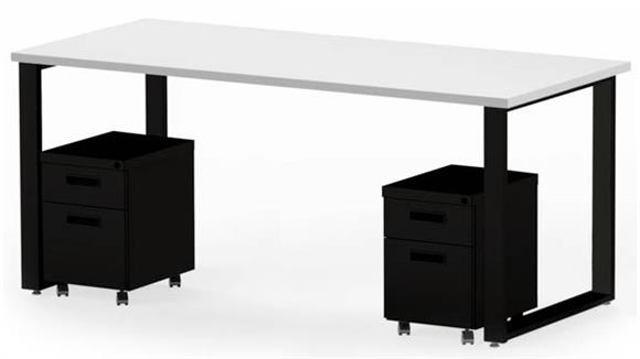 "Computer Desks Marvel 72"" x 30"" Desk and 2 Mobile Pedestals"
