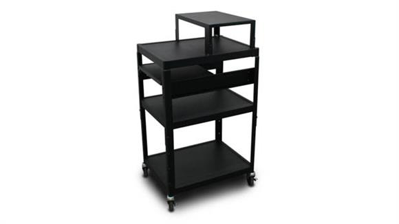 AV Carts Marvel MV2642 Cart with 1 Pull-Out Side-Shelf, Expansion Shelf, and Electrical