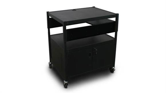 AV Carts Marvel Adjustable Cart with 1 Pull-Out Side-Shelf, Cabinet,  and Electrical