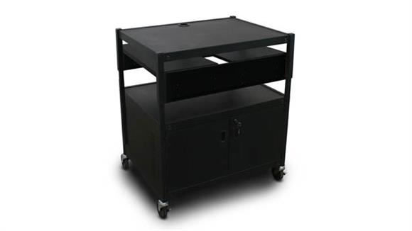 AV Carts Marvel Adjustable Cart with 2 Pull-Out Side-Shelves, Cabinet,  and Electrical