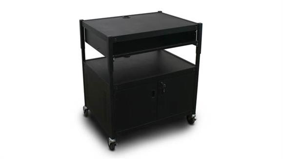 AV Carts Marvel Adjustable Cart with 1 Pull-Out Front-Shelf, Cabinet,  and Electrical