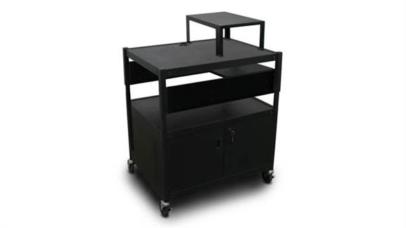 AV Carts Marvel Adjustable Cart with 1 Pull-Out Side-Shelf, Cabinet,  Expansion Shelf, and Electrical