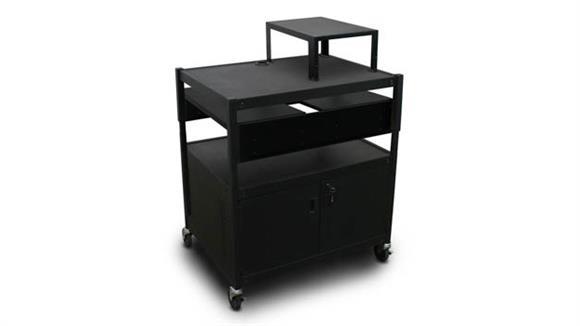 AV Carts Marvel Adjustable Cart with 2 Pull-Out Side-Shelves, Cabinet,  and Expansion Shelf