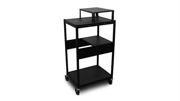 AV Carts Marvel Cart with 1 Pull-Out Side-Shelf, Expansion Shelf, and Electrical
