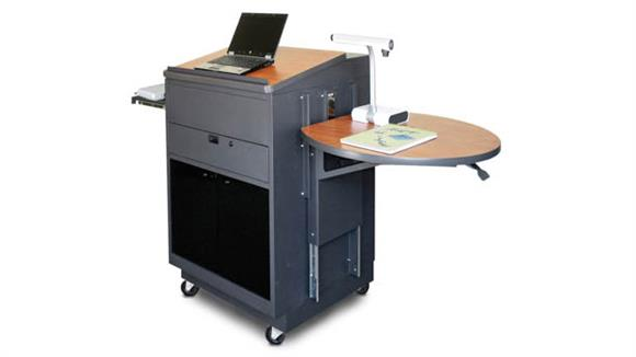 Podiums & Lecterns Marvel Media Center Cart with Lectern and Acrylic Doors - Dark Neutral Finish/Cherry Laminate