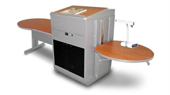 AV Carts Marvel Marvel Vizion Keyhole  Table with Media Center and Lectern, Adjustable Height Platform, Acrylic Doors - (Cherry Laminate)