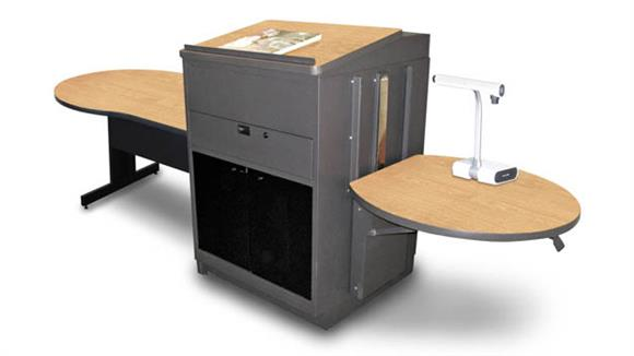 AV Carts Marvel Marvel Vizion Keyhole  Table with Media Center and Lectern, Adjustable Height Platform, Acrylic Doors - (Kensington Maple Laminate)