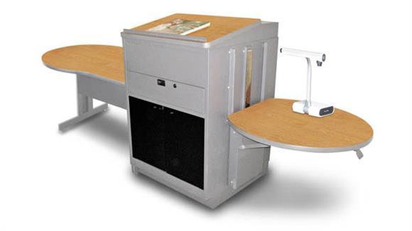 AV Carts Marvel Marvel Vizion Keyhole  Table with Media Center and Lectern, Adjustable Height Platform, Acrylic Doors - (Oak Laminate)