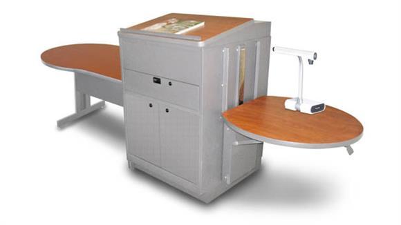AV Carts Marvel Marvel Vizion Keyhole  Table with Media Center and Lectern, Adjustable Height Platform, Steel Doors - (Cherry Laminate)