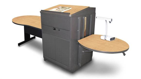 AV Carts Marvel Marvel Vizion Keyhole  Table with Media Center and Lectern, Adjustable Height Platform, Steel Doors - (Kensington Maple Laminate)