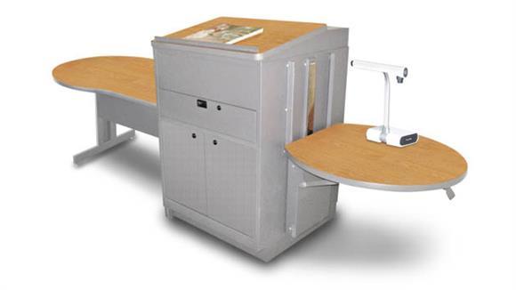 AV Carts Marvel Marvel Vizion Keyhole  Table with Media Center and Lectern, Adjustable Height Platform, Steel Doors - (Oak Laminate)
