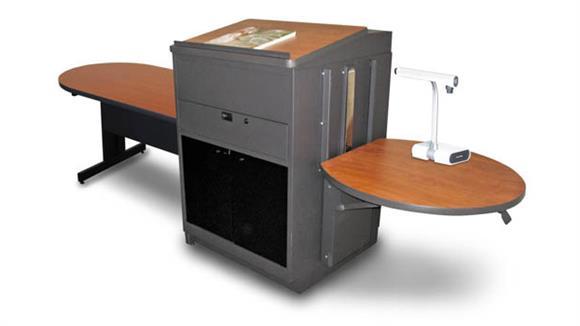 AV Carts Marvel Peninsula Table with Media Center and Lectern, Adjustable Height Platform, Acrylic Doors  - (Cherry Laminate)