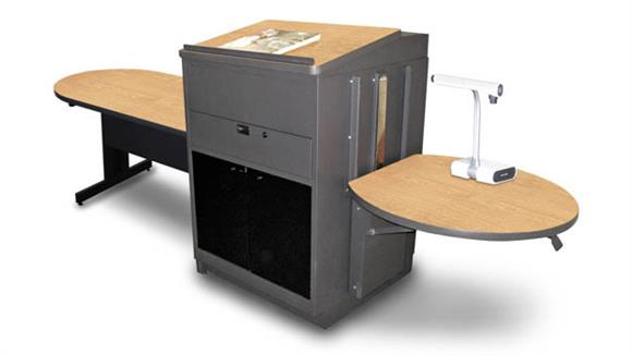 AV Carts Marvel Peninsula Table with Media Center and Lectern, Adjustable Height Platform, Acrylic Doors  - (Kensington Maple Laminate)