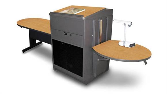 AV Carts Marvel Peninsula Table with Media Center and Lectern, Adjustable Height Platform, Acrylic Doors  - (Oak Laminate)