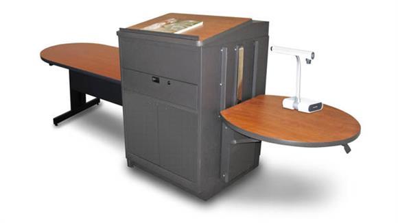 AV Carts Marvel Peninsula Table with Media Center and Lectern, Adjustable Height Platform, Steel Doors - (Cherry Laminate)