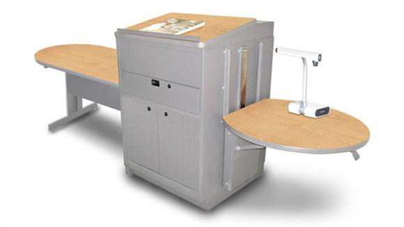 AV Carts Marvel Peninsula Table with Media Center and Lectern, Adjustable Height Platform, Steel Doors - (Kensington Maple Laminate)