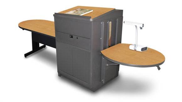 AV Carts Marvel Peninsula Table with Media Center and Lectern, Adjustable Height Platform, Steel Doors  - (Oak Laminate)