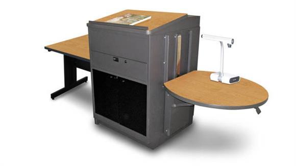 AV Carts Marvel Rectangular Table with Media Center and Lectern, Adjustable Height Platform, Acrylic Doors  - (Oak Laminate)