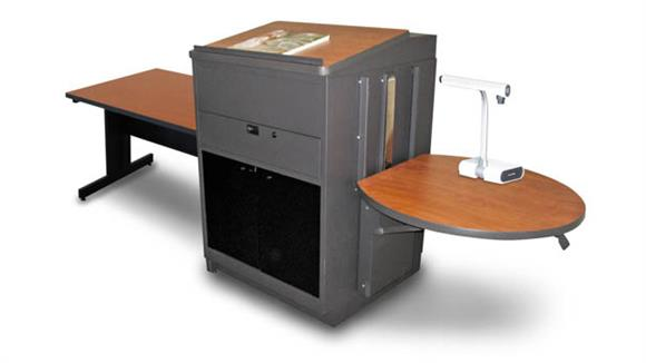 AV Carts Marvel Rectangular Table with Media Center and Lectern, Adjustable Height Platform, Acrylic Doors - (Cherry Laminate)
