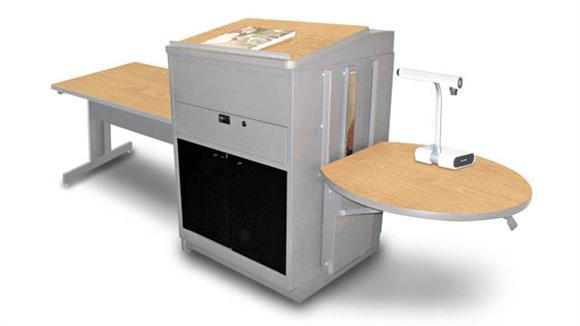 AV Carts Marvel Rectangular Table with Media Center and Lectern, Adjustable Height Platform, Acrylic Doors - (Kensington Maple Laminate)