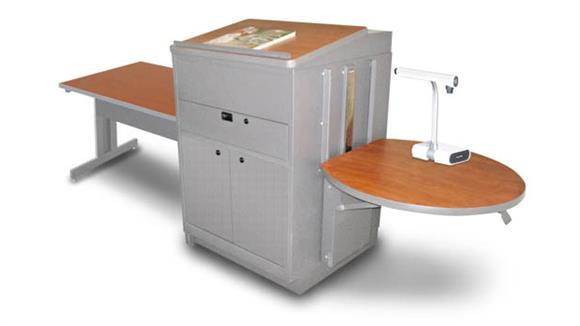 AV Carts Marvel Rectangular Table with Media Center and Lectern, Adjustable Height Platform, Steel Doors - (Cherry Laminate)