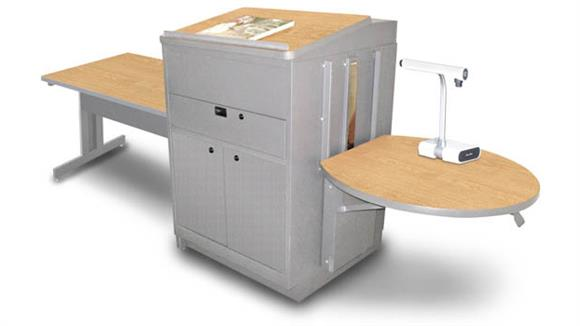 AV Carts Marvel Rectangular Table with Media Center and Lectern, Adjustable Height Platform, Steel Doors - (Kensington Maple Laminate)