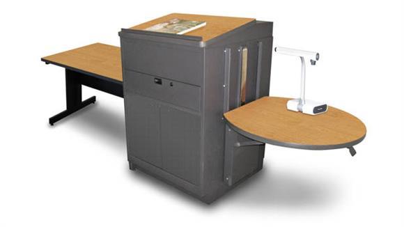 AV Carts Marvel Rectangular Table with Media Center and Lectern, Adjustable Height Platform, Steel Doors - (Oak Laminate)