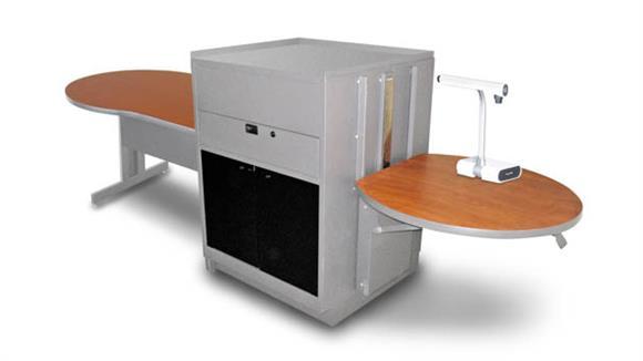 AV Carts Marvel Keyhole Table with Media Center, Adjustable Height Platform, Acrylic Doors - (Cherry Laminate)
