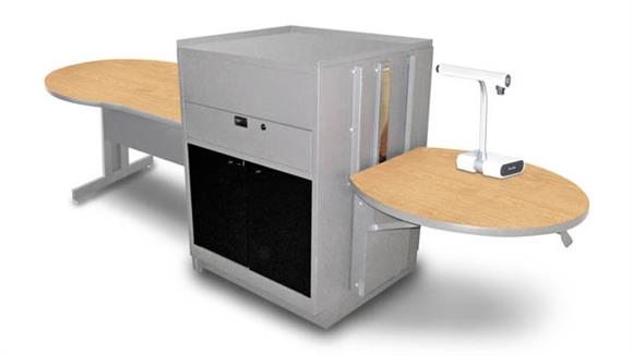 AV Carts Marvel Keyhole Table with Media Center, Adjustable Height Platform, Acrylic Doors - (Kensington Maple Laminate)