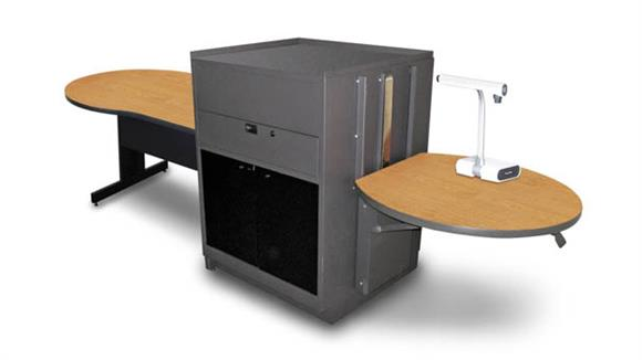 AV Carts Marvel Keyhole Table with Media Center, Adjustable Height Platform, Acrylic Doors - (Oak Laminate)